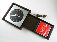 Vintage Coca Cola Wall Clock, Enjoy Coke, Wood Look, Brushed Metal, Benco