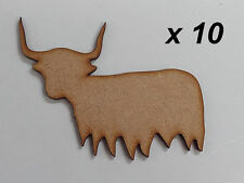 Pack of 10 ~ 75mm High HQ MDF Highland cows 3mm thick MDFembelishment #04