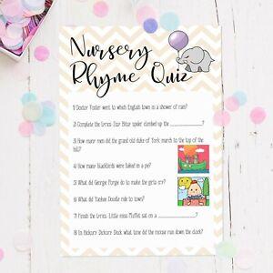 NURSERY RHYME QUIZ  Baby Shower Game 6-21,Unisex Boy Girl Baby Shower Party Game