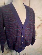 Pronto Uomo Mens L Cardigan Sweater Italian Wool Navy/Red/Green Vintage 90's