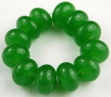 12 Lampwork Handmade Glass Beads Opal Green Rondelle Loose Jewelry Making Spacer