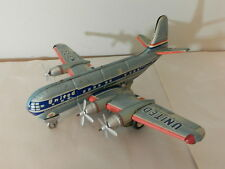 VINTAGE TIN TOY AIRPLANE- UNITED AIRLINES-MAINLINER- PROP PLANE- JAPAN- BATT. OP