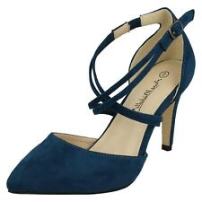 Ladies Anne Michelle Court Shoes F10551 Teal Microfibre 6 UK Standard