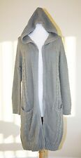 JOIE LONG CARDIGAN SWEATER XS Gray Hooded Cable Knit Duster Sweater Jacket