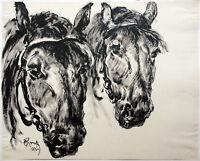 Paul Groß 1873-1942 Neue Sachlichkeit: 2 Pferdeköpfe 1931 Tuschpinsel Großformat