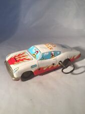 Vintage Antique Wind Up Tin Plate Stunt Car c1950's Working