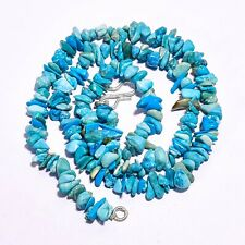 925 Silve Natural Blue Turquoise Gemstone Uncut Smooth Beads Necklace 5-8 mm 17""