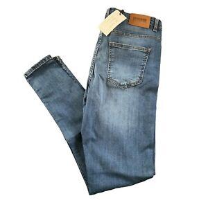 RISK COUTURE Jeans W34 L30 Blue Super Slim Fit Tapered Denim Ripped Knee