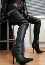 Erogance Crotch High Heels Overknee Stiefel Schwarz Kunstleder 37-46 NEU 3623L