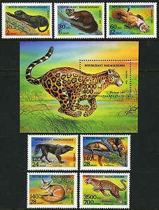 Malgache 1182-1189, Mi 1701-1708, Bl.261, Mnh.predators : Lion, Léopard, Fox,