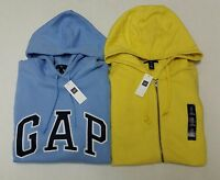 NWT GAP Logo Pullover Hoodie Mens Blue Yellow Long Sleeve Sweatshirts M, L, XL