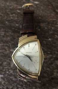 Hamilton Ventura Men's Watch Registered Edition Brown Strap+Gold-Tone Case #6108