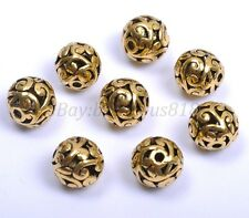 1 /100Pcs Round Heart Metal Carved Hollow Tibetan Silver Spacer Beads 12MM