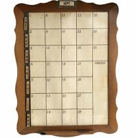 "Perpetual Wall Calendar Wood Dry Erase 19"" Vtg Mid Century Complete"