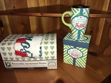 """Travel Mug & Throw Set """"smallest thing takes most room in your heart"""" Orange Blu"""