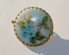 Estate Hand Painted Porcelain BLUE FLORAL Cameo BROOCH PIN Victorian Era Style