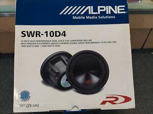 "BRAND NEW IN THE BOX 10"" ALPINE SWR-10D4 TYPE R DUAL 4 OHM"