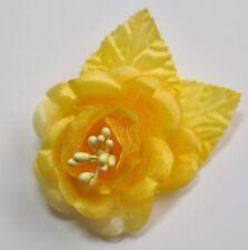 "SMALL 2.5"" Bright Yellow Satin Rose Silk Flower Hair Clip Wedding Bridesmaid"