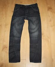 Dark Blue Denim RIVER ISLAND Button Twisted Crinkle Stonewashed Jeans W 32 L 30