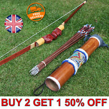 Handmade Bow and Arrow Set - Wooden Recurve Bow Kit 10 Arrows & Quiver Case Kids
