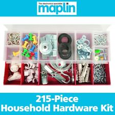 215Pc Household Hardware Picture Hanging Kit Wire Nails Pins Hooks Clips