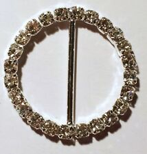 20 Silver Grade A Rhinestone Round Ribbon Slider Wedding Metal Buckles 22mm Bar