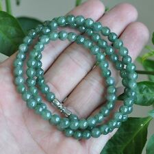 Certified Untreated  Green Icy Jadeite Jade 6MM necklace Special offer 21inches