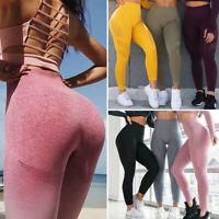 Womens High Waist Yoga Pants Seamless Sports Push Up Fitness Workout Leggings AM