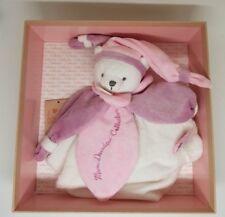 Doudou et Compagnie J'aime mon doudou collector ours plat roseviolet blanc NEUF