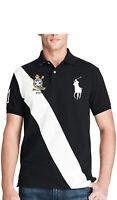 Ralph Lauren Polo Shirt Banner Stripe Crest Mesh Big Pony  - Custom Slim Fit