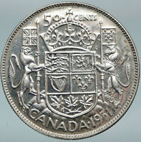 1951 CANADA UK King GEORGE VI Lions Crown Large Old SILVER 50 Cents Coin i88345