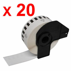 20 x Compatible DK22210 Continuous White Standard Address Label ROLLS WITH FRAME