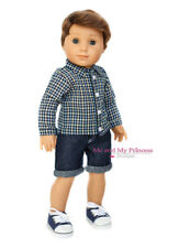 PLAID SHIRT + DENIM SHORTS + SHOES  Doll Clothes for 18 inch American Boy Doll