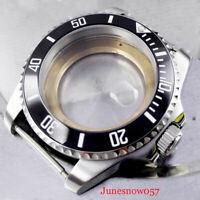Mental 43mm Watch Case Sapphire Glass Black Bezel fit ETA 2824 2836 movement