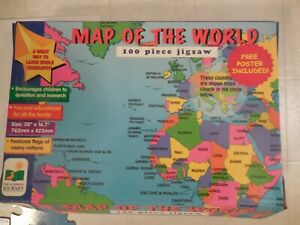 """Map of The World 100 Piece Puzzle with Poster Large Pieces 30"""" X 16.7"""""""