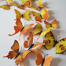 12pcs 3D Butterfly Sticker Art Design Decal Wall Stickers Home Decor,Yellow