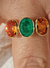 5.90ct Colombian Emerald & Yellow Sapphire Cocktail Ring 18K Yellow Gold