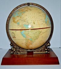 "Vintage CRAM'S Imperial 12"" WORLD GLOBE 2 Atlas Figures Large wood base"