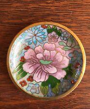 "Enamel Cloisonne Miniature Plate Dish - Flowers - 4"" - NIB"