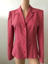Stunning Betty Barclay Red And White Lightweight Fine Check Jacket Size 10