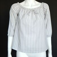 MADEWELL Womens Peasant Blouse Top Adorable White Blue Striped XXS - 357