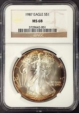 1987 American Silver Eagle certified MS 68 by NGC! Handsomely toned!