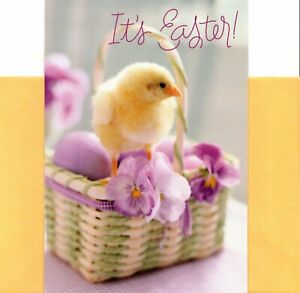 Happy Easter Wishes Yellow Chick Purple Pansy Pansies Greeting Card - Set of 2