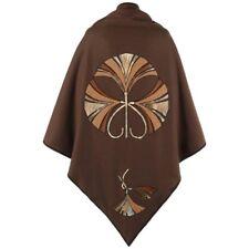 CHRISTIAN DIOR c.1970's Brown Wool & Leather Fan Applique Shawl Cape RARE