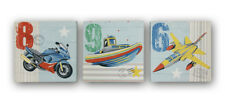 ZOOM AWAY Bike PLANE Boat Set 3 Canvas Wall Art Pictures Home Decor Boys Bedroom