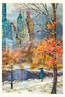 Central Park South Watercolor Painting by Roustam Nour | Free Shipping