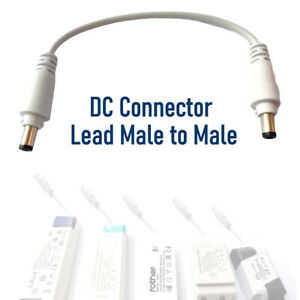 2.1mm DC Connector Lead Male to Male Plug  20cm  Extension Lead Power Connector
