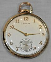 Vintage 1960s Hamilton 10K Yellow Gold 23 Jewels Open Face Pocket Watch