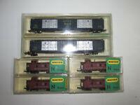 Minitrix 2 x amerikanische Güterwagen 3315 + 4 x Caboose 3273 OVP Spur N
