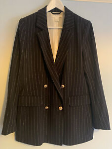 H&M Pinstripe Navy Blazer Size 10